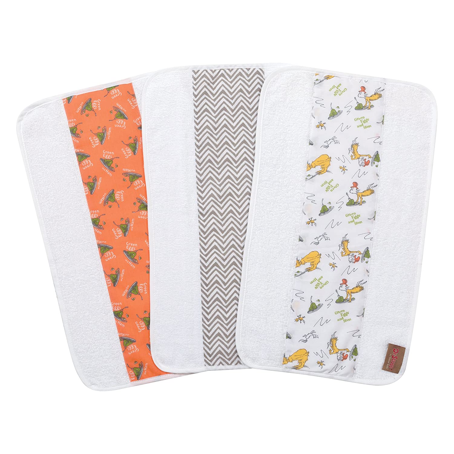 Trend Lab Dr. Seuss by Green Eggs and Ham 3 Pack Jumbo Burp Cloth Set, Orange/Green Yellow/Gray/White 30534