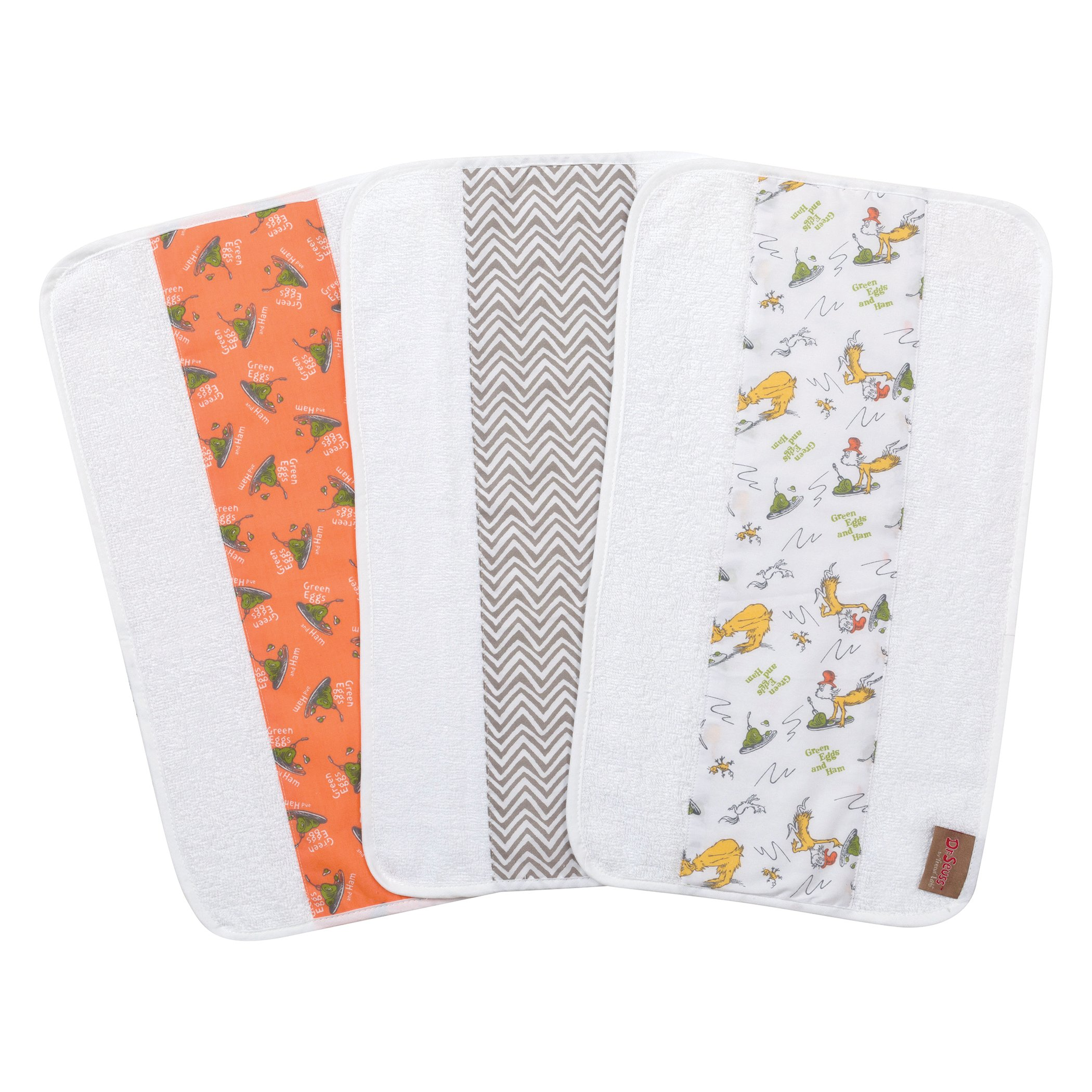 Trend Lab Dr. Seuss by Green Eggs and Ham 3 Pack Jumbo Burp Cloth Set, Orange/Green Yellow/Gray/White by Trend Lab