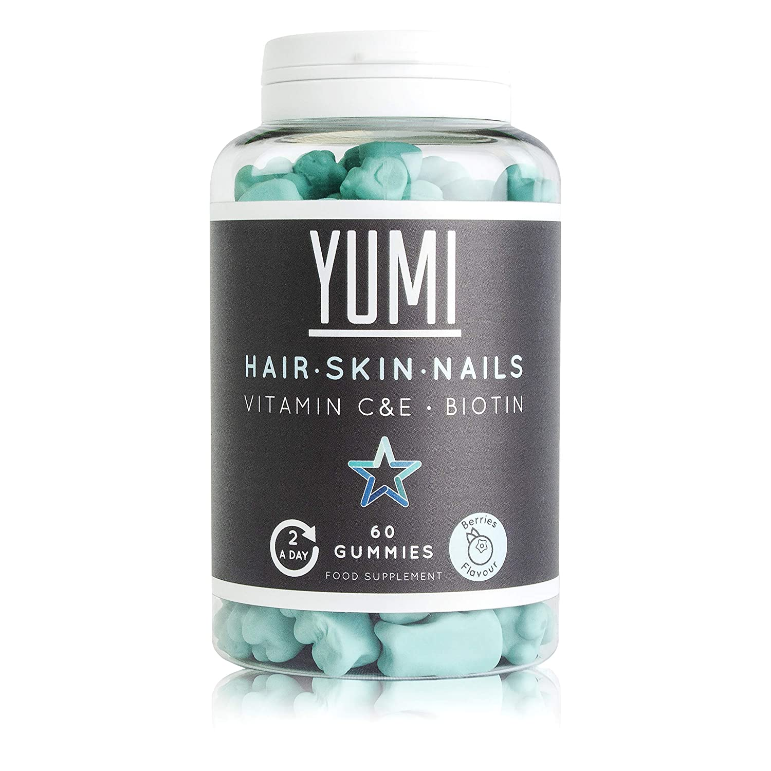 YUMI - Biotin Hair Growth Supplement 5000mcg with Vitamin C & E | Hair, Skin and Nails Supplement - Effective Hair Vitamins for Beard Growth and Hair Care & Skincare | 60 Vegan Vitamin Gummies |