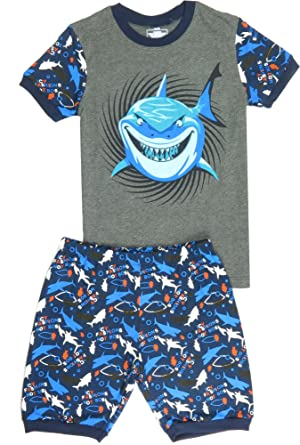 com babypajama little boys shark short pajamas sets  babypajama big boys shark short pajama set 2 piece t shirt pants size