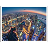 """JP London POS1X431364 Jpl and Sanjay Pradhan Present Dubai Colors Of Night City Skyline Lights 25.75"""" by 19.75"""" Peel and Stick Fully Removable Wall Poster Mural"""
