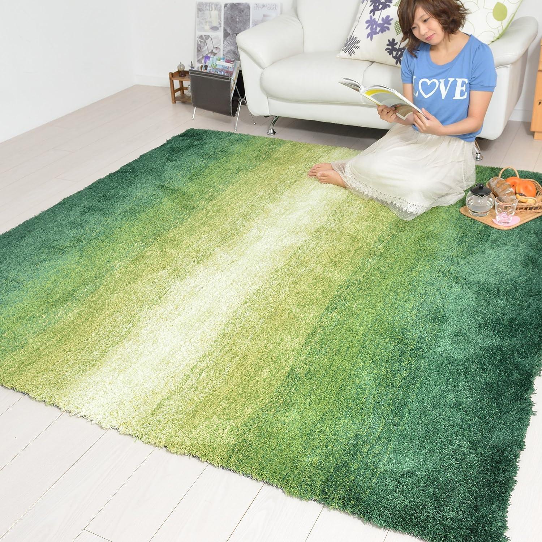 なかね家具 グラデーションシャギーラグ おしゃれ ホットカーペット対応 グリーン 200×200 325gran 200×200 グリーン B01M28C758