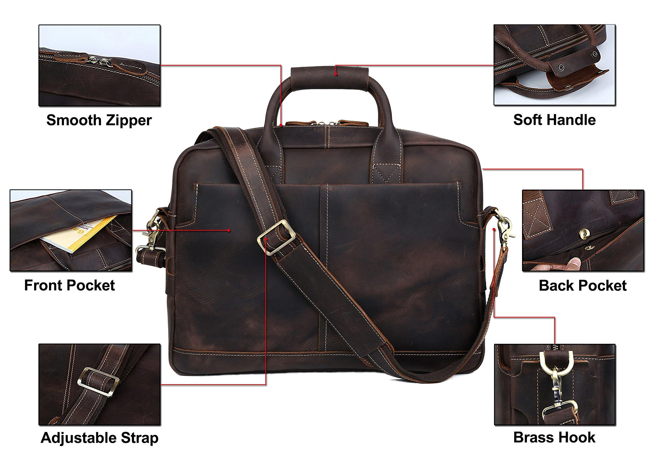 BAIGIO Men Retro Leather Briefcase Laptop Computer Office Business Shoulder Tote Messenger Bag (Dark Brown) by BAIGIO (Image #5)
