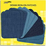 ZEFFFKA Premium Quality Denim Iron-on Jean Patches Inside & Outside Strongest Glue 100% Cotton Assorted Shades of Blue…