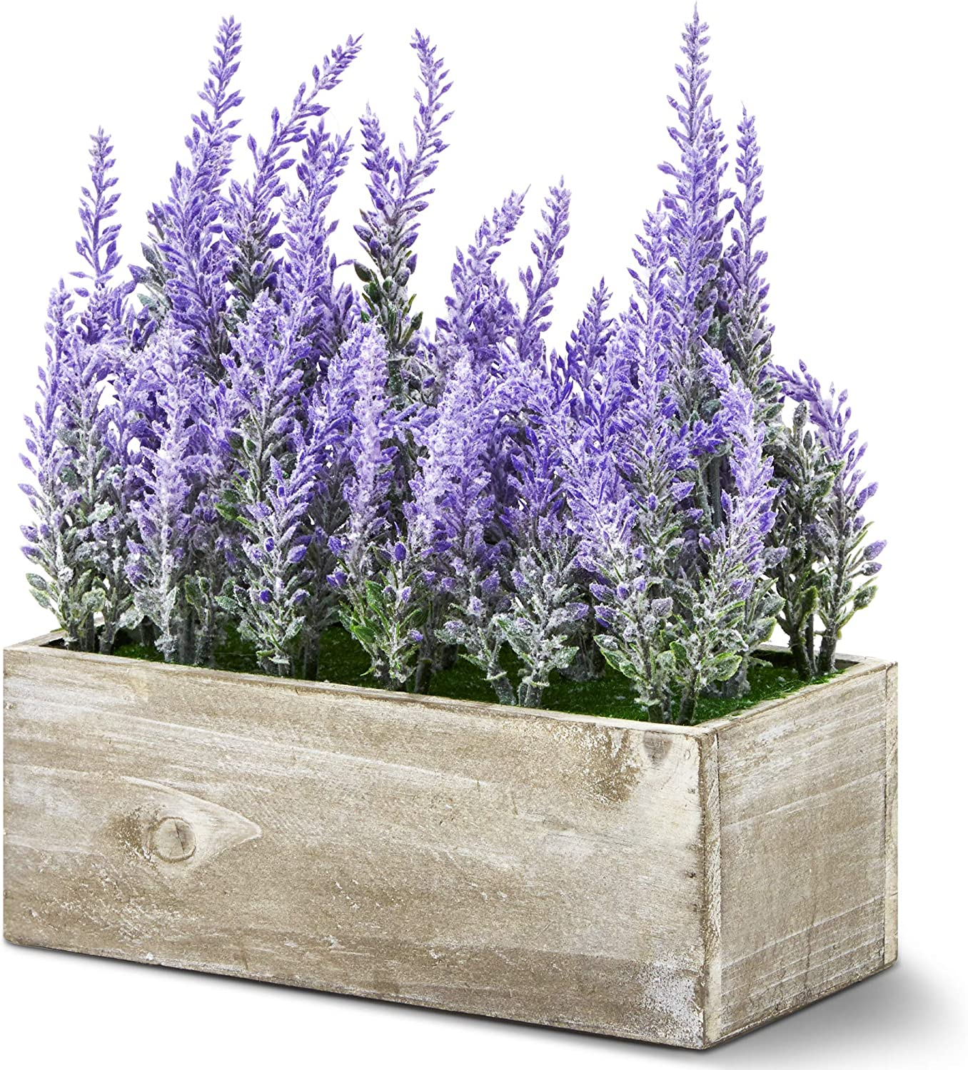 Juvale Artificial Lavender Plant in Rustic Pot Wooden Box (9 x 4 in)