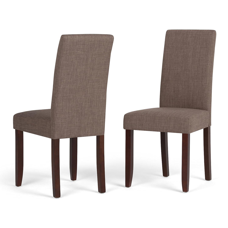 Light Mocha Simpli Home Acadian Parson Dining Chair, Dove Grey (Set of 2)
