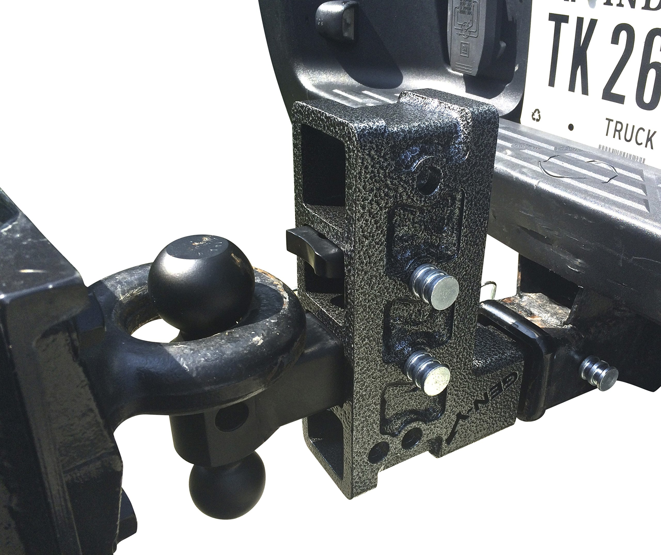 Drop Hitch by Geny 525 16,000 Lb 10'' Drop Raise Hitch 2'' Receiver Hitch, Dual-ball Pintle Combo Hitch, Black, 16 x 12 x 4 inches by GEN-Y Hitch