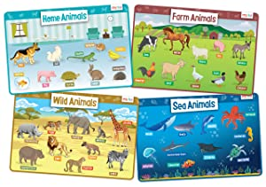 merka Animals Set of 4 Educational Kids Placemats Includes Wild, Sea, Home and Farm Animals - Non Slip Washable