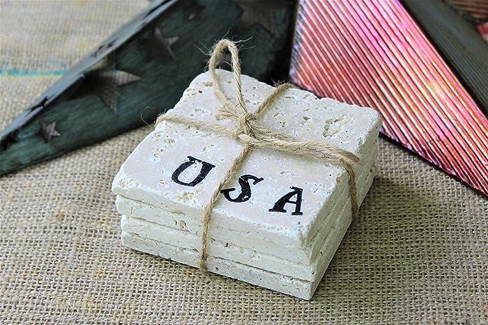 Amazon USA Drink Coasters Fourth Of July Decor Travertine