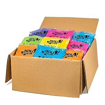 HoliColor - Pack de 100 bolsas de polvo Holi, multicolor ...