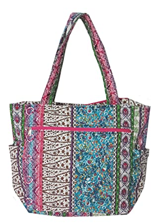 adc20914f512 Bohemian Print Quilted Multipurpose Market Beach Large Tote Bag (Bohemian  Pink Personalized)