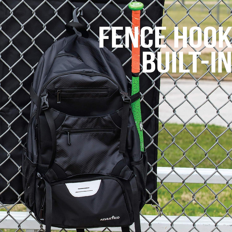 T-Ball /& Softball Equipment /& Gear for Youth and Adults Glove Holds Bat Helmet Athletico Advantage Baseball Bag Shoes Baseball Backpack with External Helmet Holder for Baseball