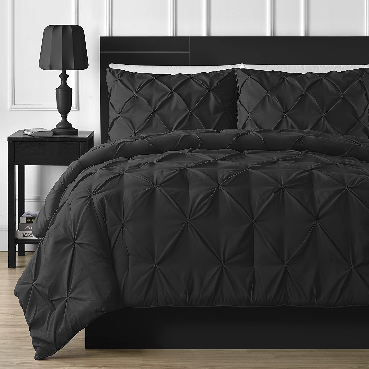 Double-Needle Durable Stitching Comfy Bedding 3-piece Pinch Pleat Comforter Set Queen, Black