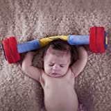 WOD Toys Baby Barbell Plush with Rattle - Safe, Durable Fitness Toy for Newborns, Infants and Babies