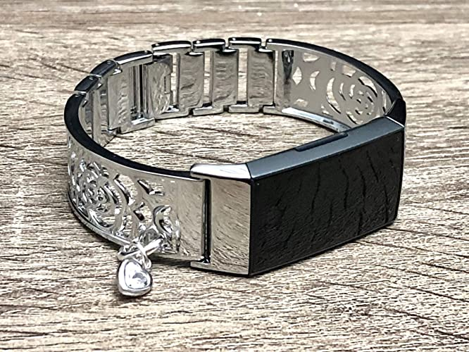 Elegant Silver Bracelet for Fitbit Charge 3 Band Women Jewelry Handmade  Flowers Design Fitbit Charge 3 Bracelet with Crystal Heart Charm Medallion