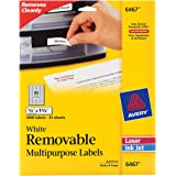 "Avery Self-Adhesive White Removable Laser Id Labels, 1/2"" x 1-3/4, 2000 per Pack (6467)"