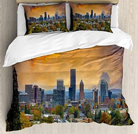 Lunarable Oregon Duvet Cover Set City Of Portland In Autumn Season Downtown And Business District Urban Photography Decorative 3 Piece Bedding Set With 2 Pillow Shams Queen Size Orange Blue Home
