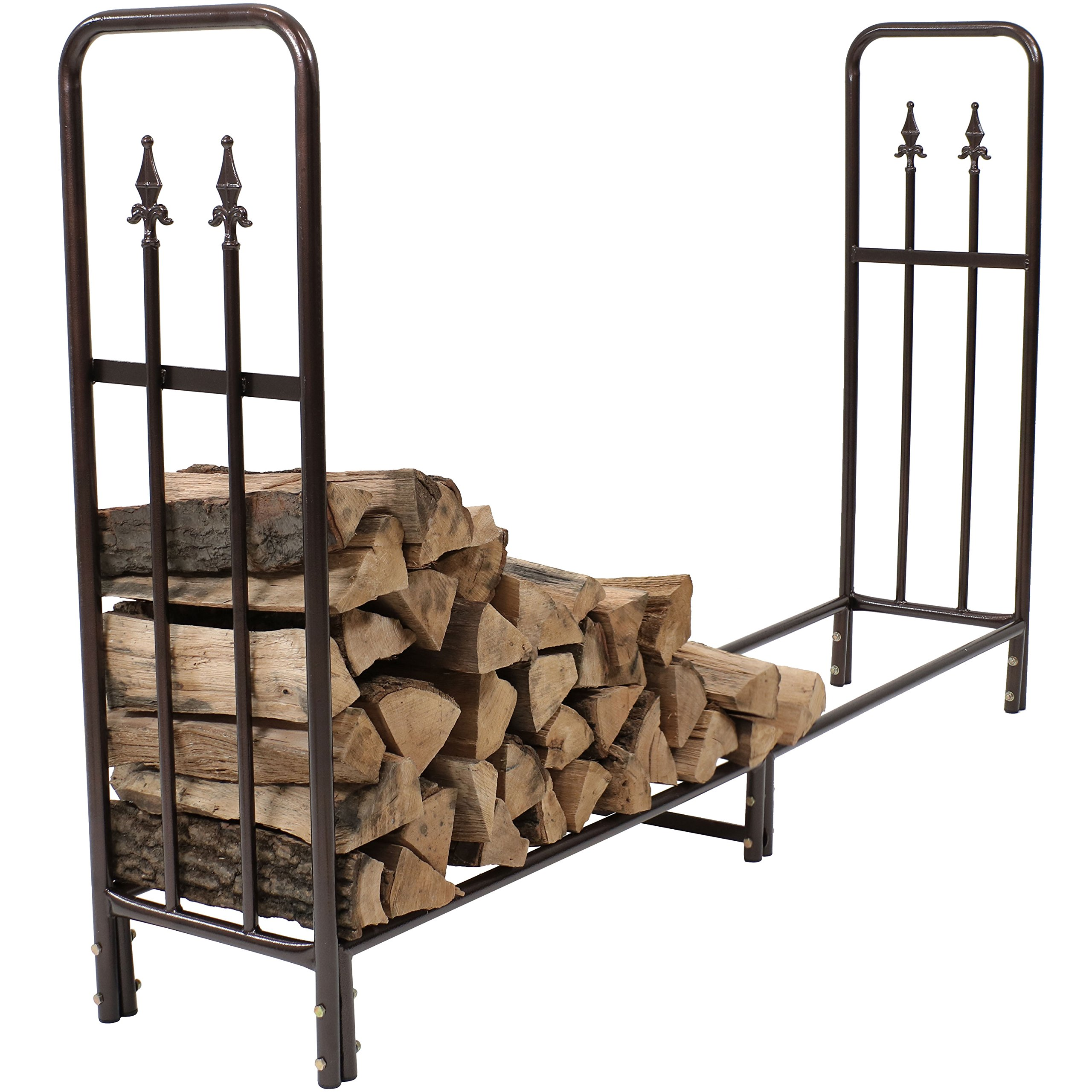 Sunnydaze 6-Foot Firewood Log Rack, Indoor/Outdoor Decorative Wood Storage Holder for Fireplace, Bronze by Sunnydaze Decor