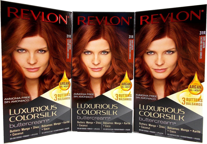 Revlon Lujoso Colorsilk Buttercream 31R Tinte de pelo, color caoba oscuro (Pack de 3)