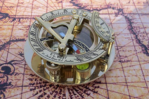 NauticalMart Brass Sundial Compass 3 Nautical Gift Marine Boat Pocket Sun Dial Pirate Ship West London