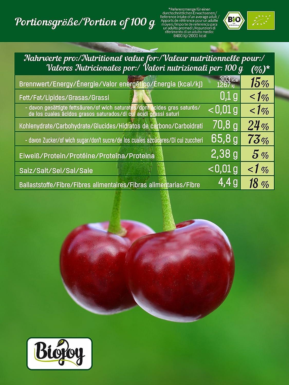 Biojoy Cerezas Secas BÍO | cerezas dulces cuidadosamente desecadas sin hueso | 100% naturaleza | calidad-premium-bío | sin impurezas, sin azufre y selladas ...