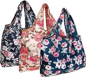 Wrapables Eco-Friendly Large Nylon Reusable Shopping Bags (Set of 3), Rose Garden