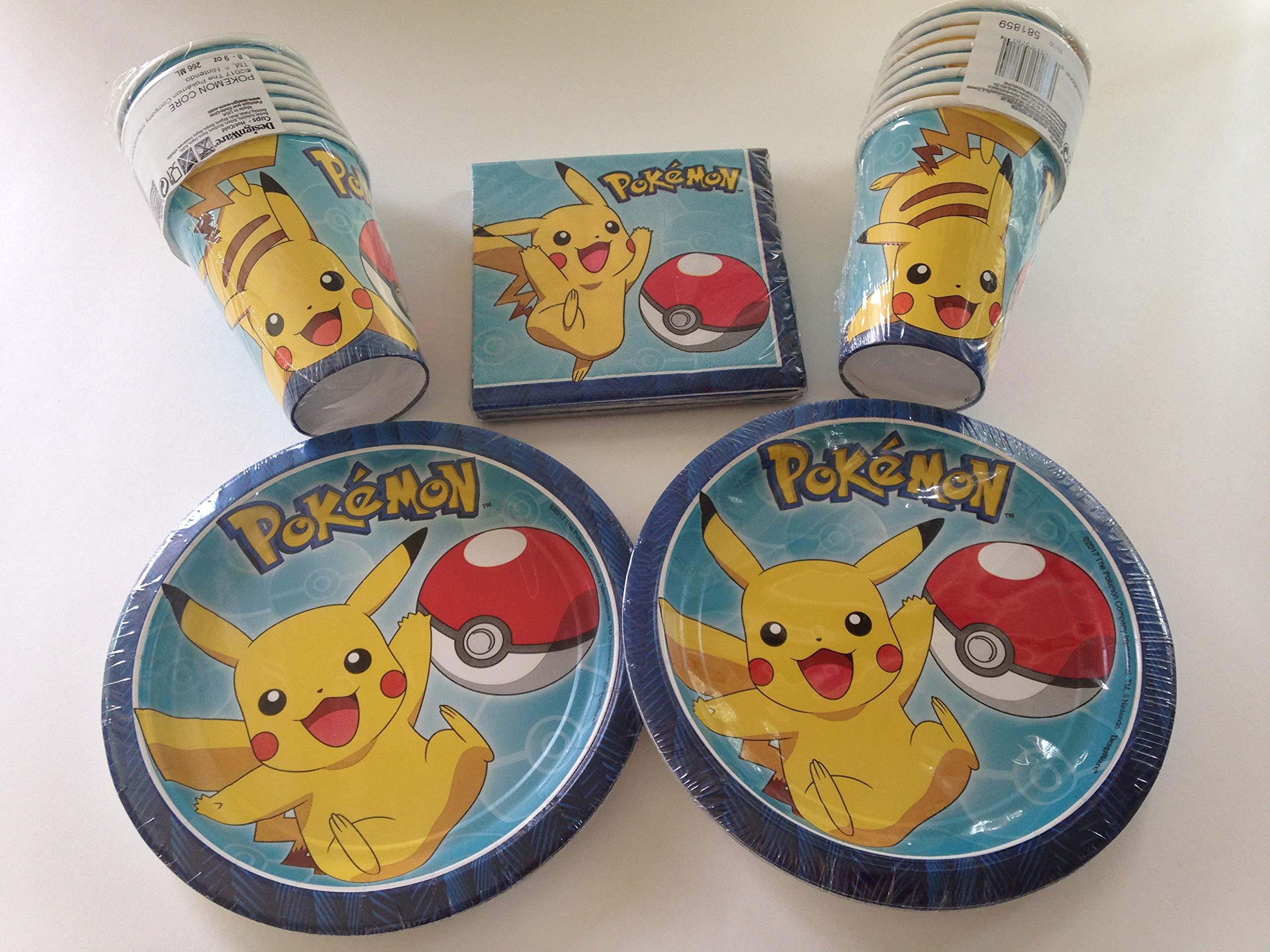 Pokemon Pikachu Party Bundle 7'' Plates (16) Cups (16) Napkins (16)
