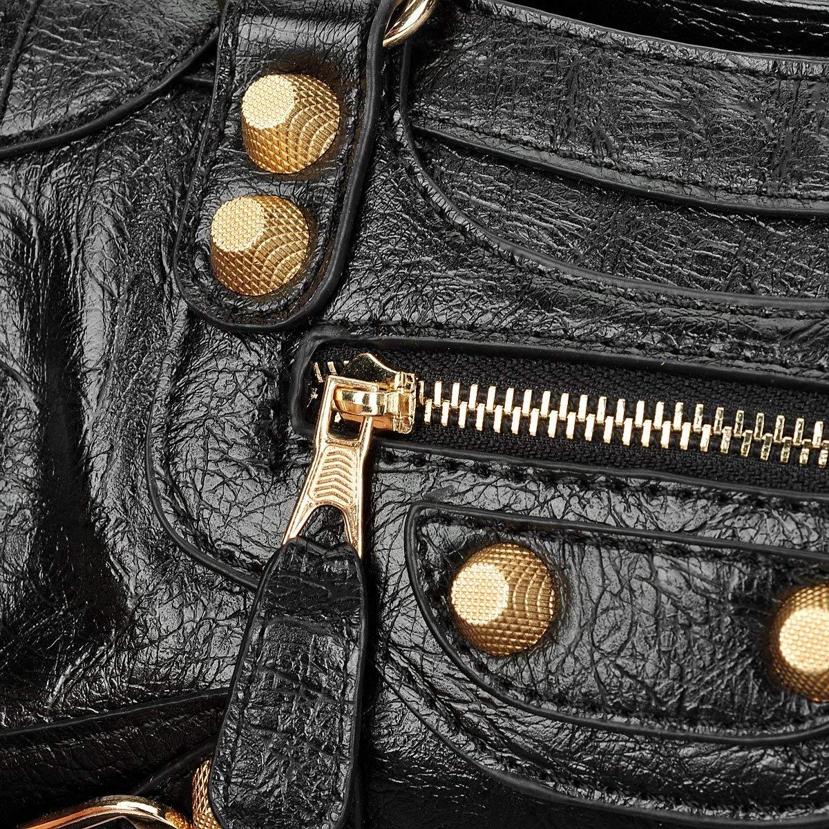Gold-Tech Women Leather Big Gold Color Studed Motorcycle Bags 38cm Medium Size Shoulder Bag 2 Colors (24cm Black) by Gold-Tech (Image #4)