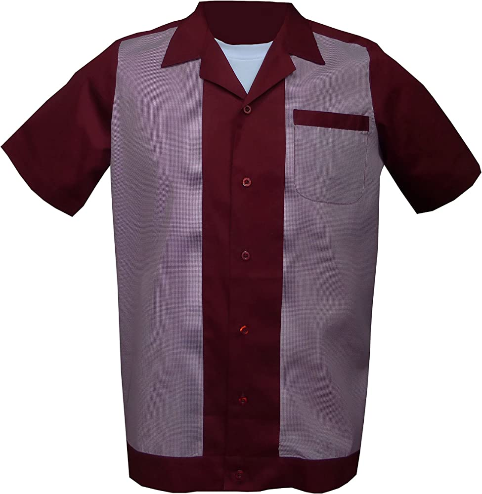 Rockabilly Fashions - Camisa casual - Básico - para hombre Burgundy, Red, White Medium: Amazon.es: Ropa y accesorios