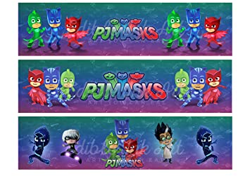 PJ Masks Edible Cake Strips Cake topper decoration Set of 3 Edible Image for Sides of
