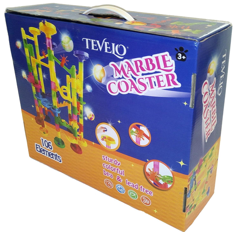 Classic Toy for Family. Marble Run Coaster 106 BIG Elements Kit 76 Blocks+30 Plastic Marbles TEVELO DIY Endless Design Maze Learning Railway Construction Tracks length 194 Genius Fun Set