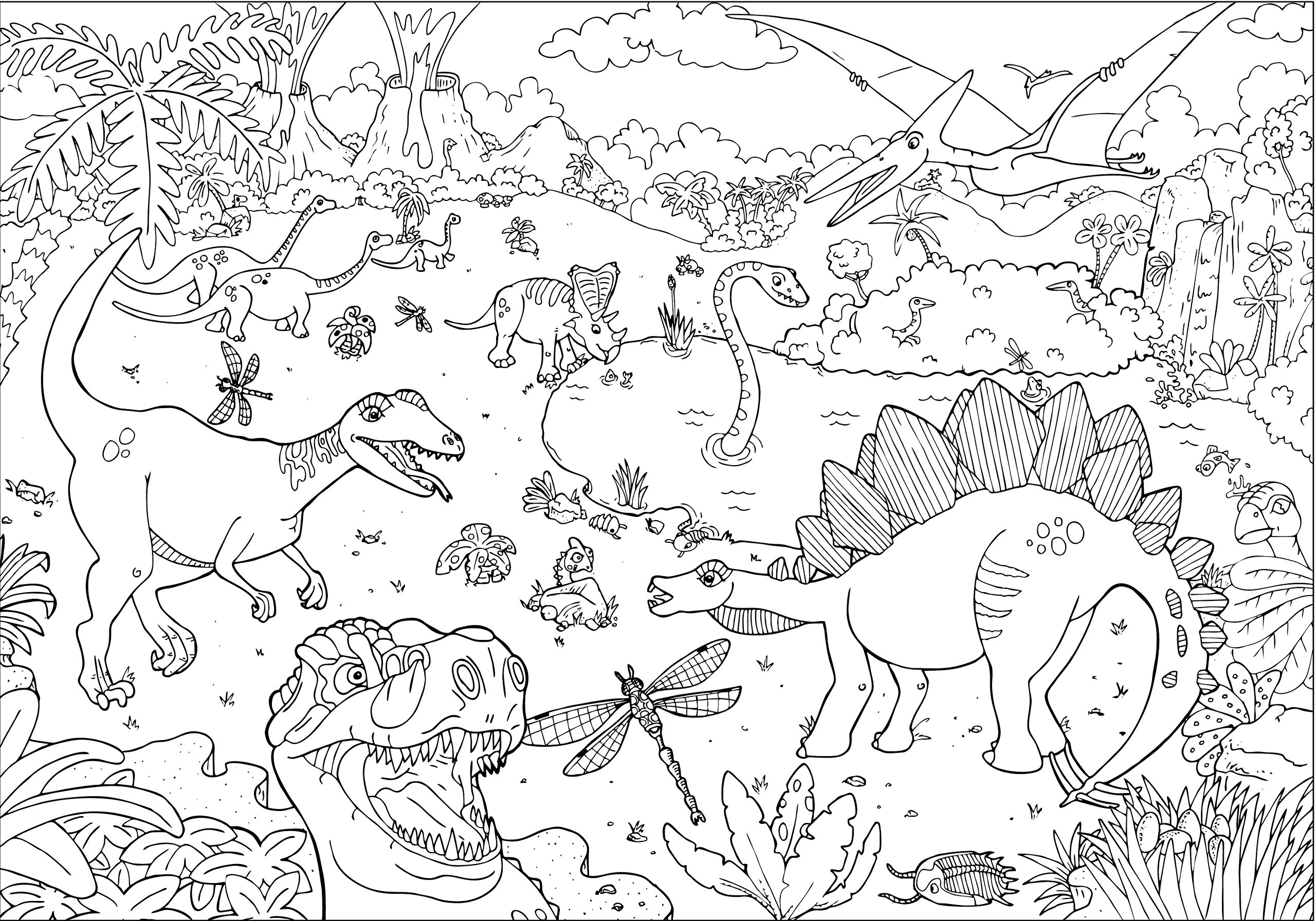 Coloriage Vrai Dinosaure.Poster Geant Dinosaures A Colorier Amazon Fr Anton Poitier