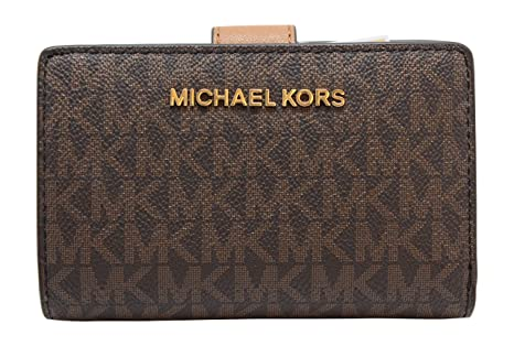 Michael Kors Brown Jet Set Travel PVC Signature Bifold Zip ...