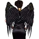 ZUCKER Large Gothic Vixen Style Maleficent Inspired Black Angel Feather Wings