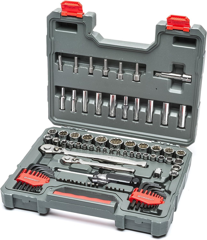 "Crescent 84 Pc.1/4"" & 3/8"" Drive 6 & 12 Point Standard & Deep SAE/Metric Mechanics Tool Set - CTK84CMPN"