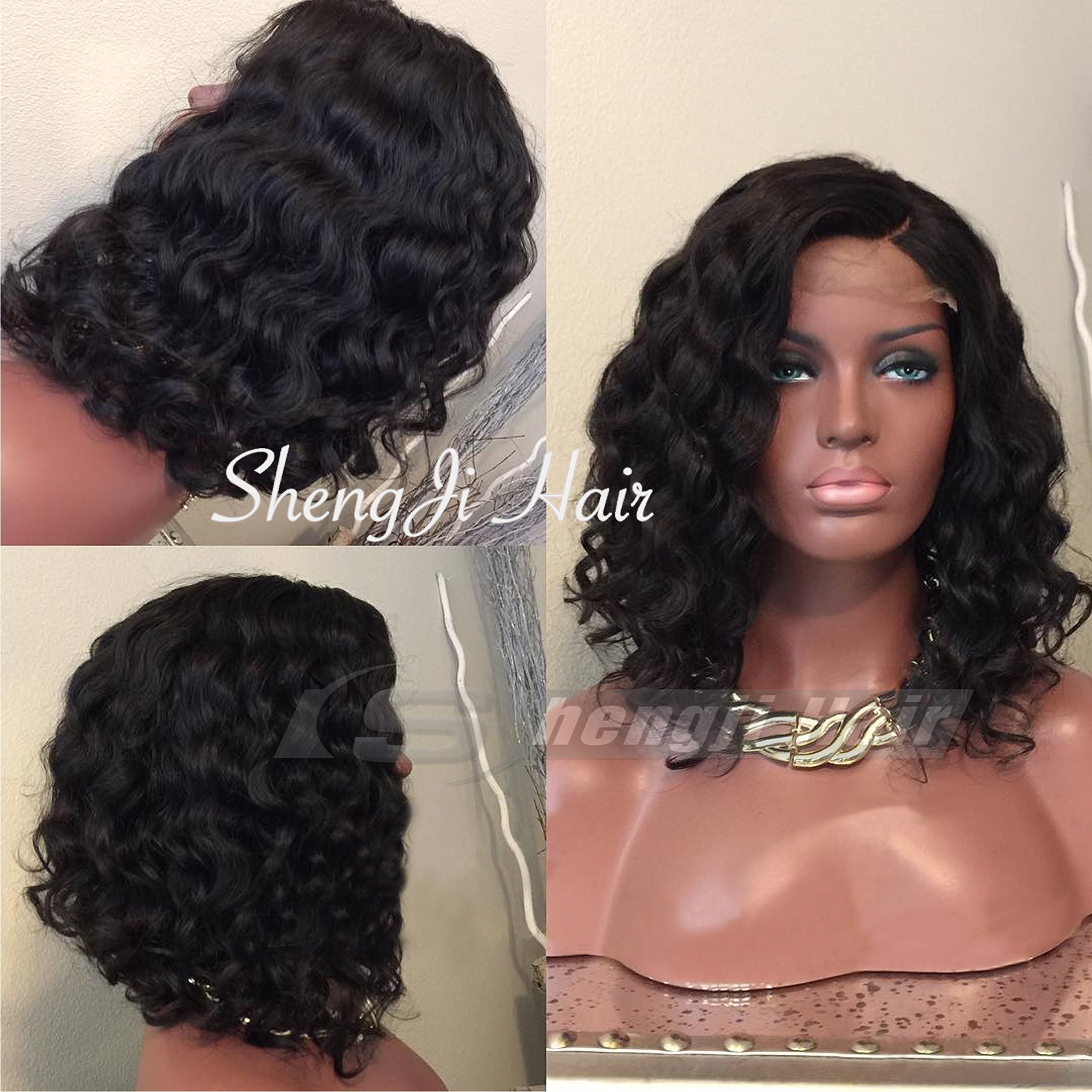 Full Lace Brazilian Virgin Hair Wig Short Wigs for Black Women Hair Glueless Human Hair Wigs with Baby Hair (12 inch with 150 density,Full Lace Wig)