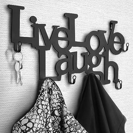 MIADOMODO Perchero de Pared metálico con 6 Ganchos - 48 x 23 x 3 cm – Live, Love, Laugh - Colgadores de Ropa, Perchero para recibidor