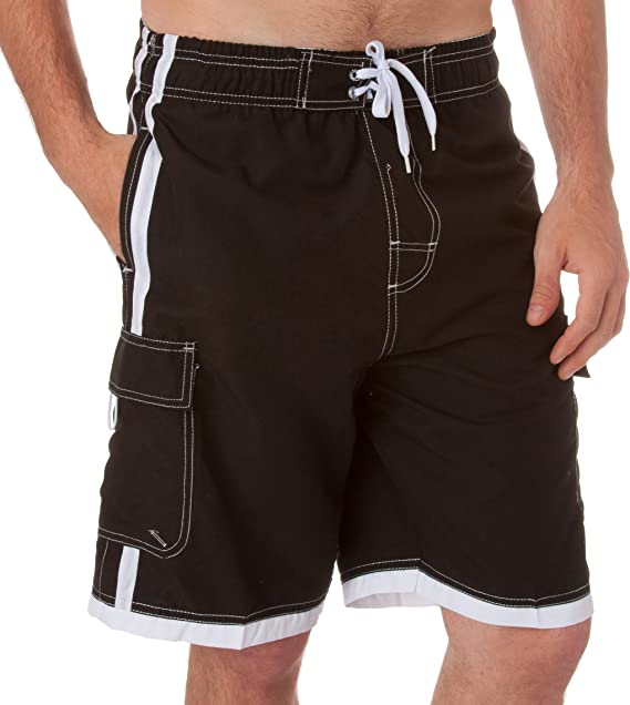 Sakkas Mens Solid Color with Contrast Stripes Skate Surf Board Shorts//Swim Trunks