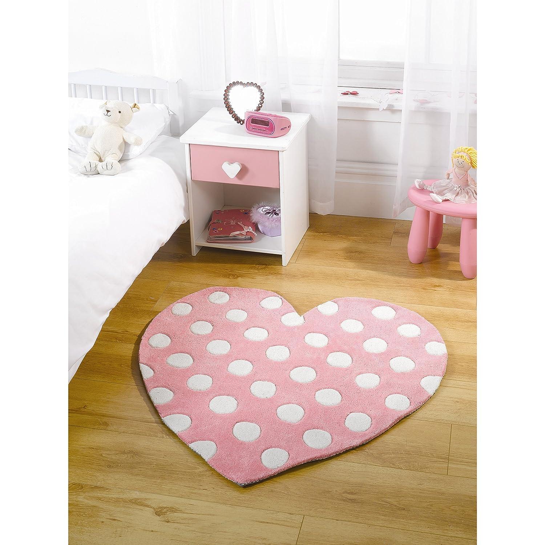 Childrens Kids Soft Rug in Pastel Pink Colour Heart Design Carpet