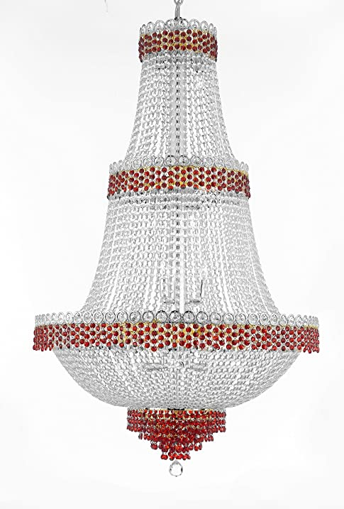 Moroccan Style French Empire Crystal Chandelier Chandeliers Lighting Trimmed With Ruby Red Good For