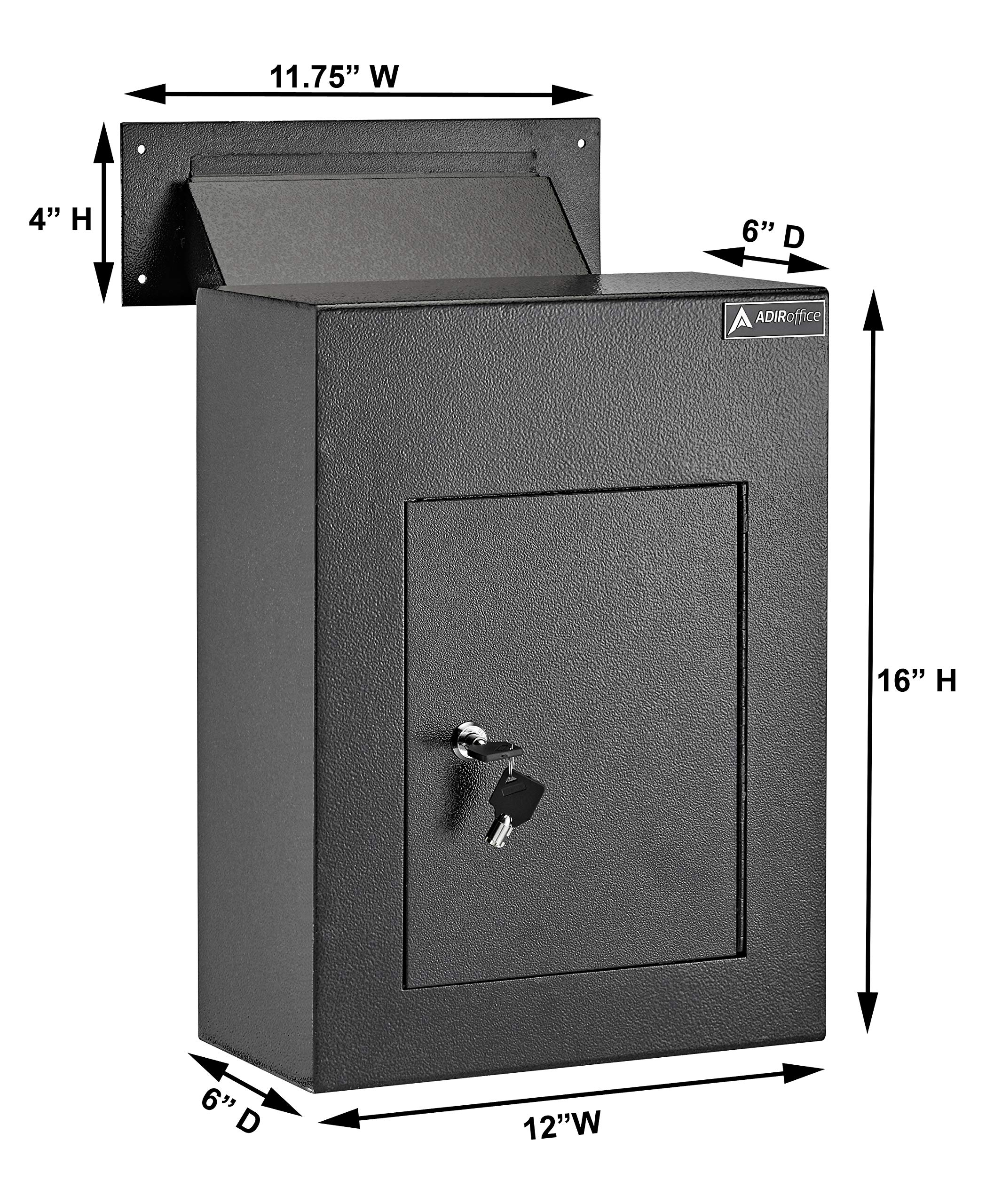 AdirOffice Through The Wall Drop Box Safe (Black/Grey/White) - Durable Thick Steel w/Adjustable Chute - Mail Vault for Home Office Hotel Apartment (Grey) by AdirOffice (Image #5)