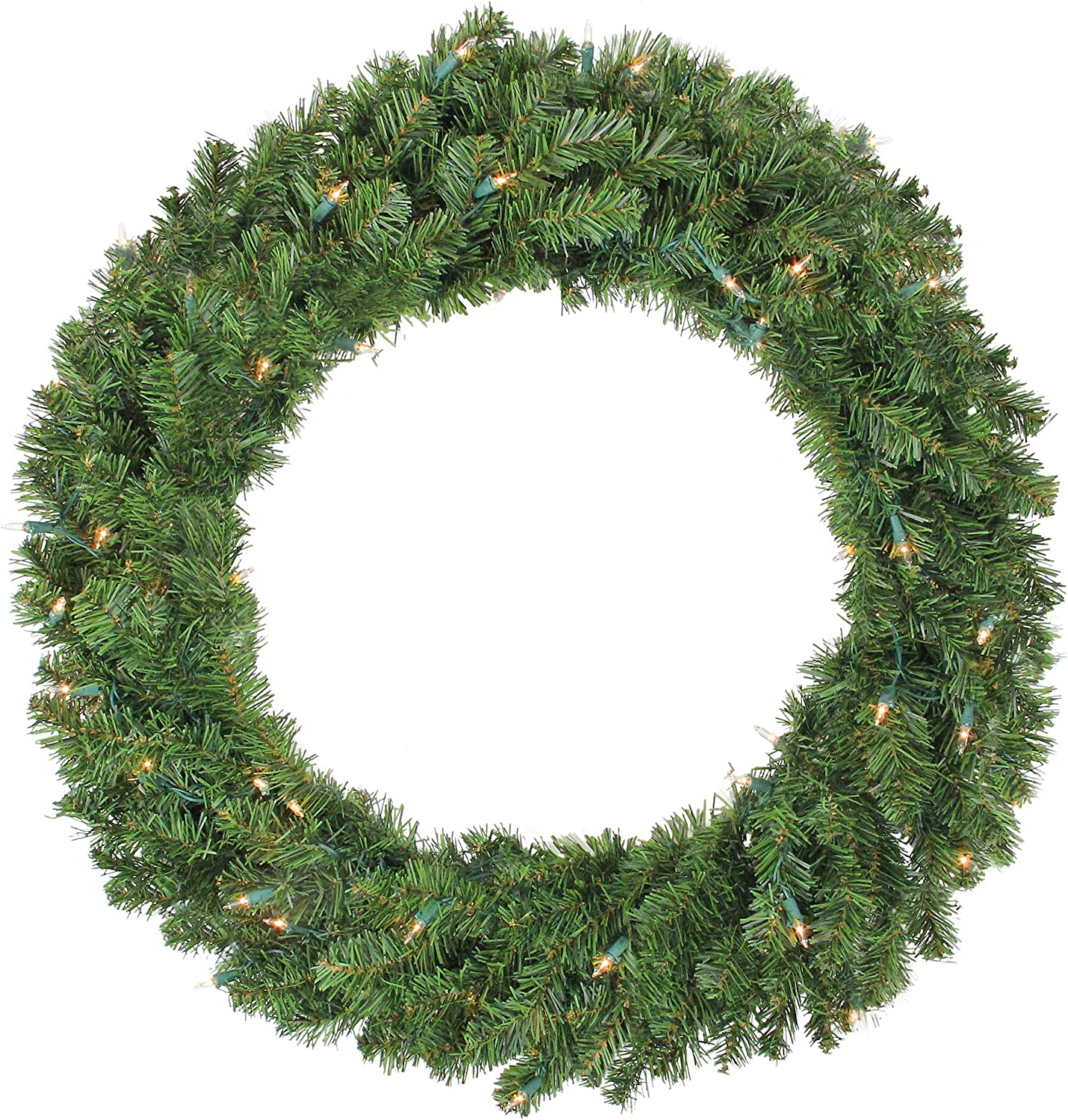 Amazon Com Northlight 36 Pre Lit Canadian Pine Artificial Christmas Wreath Clear Lights Home Kitchen