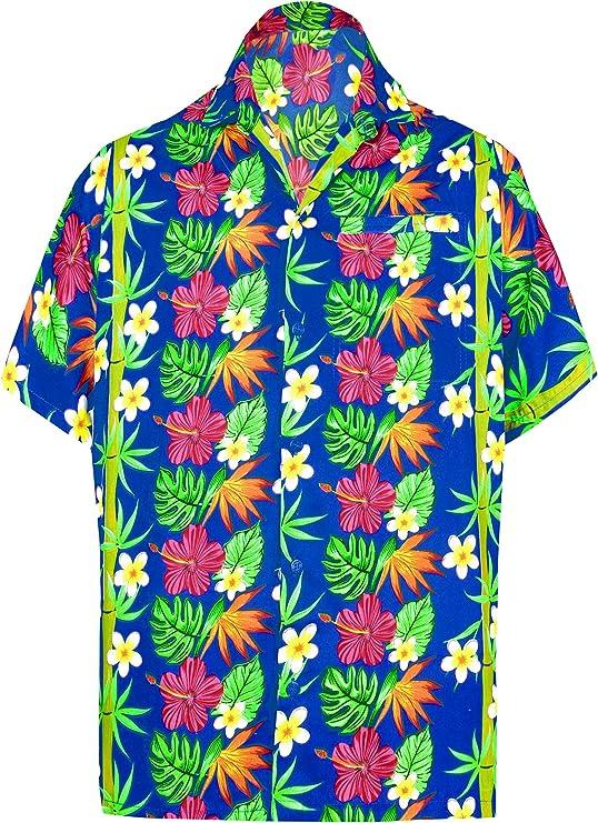 LA LEELA Casual Hawaiana Camisa para Hombre Señores Manga Corta Bolsillo Delantero Surf Palmeras Caballeros Playa Aloha XS-(in cms):91-96 Azul_W399: Amazon.es: Ropa y accesorios