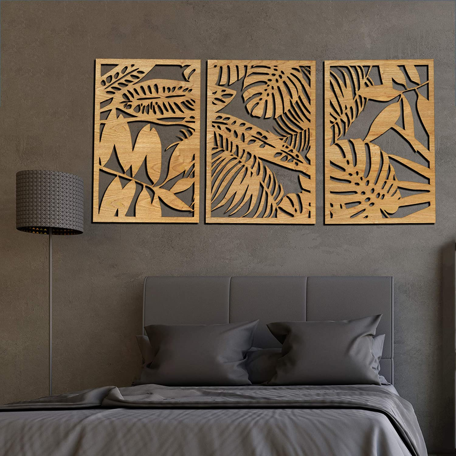 Mostertera Leaves Wall Art decor 3 Panel Wooden (Natural, XL : 63 x 31.5 inches)