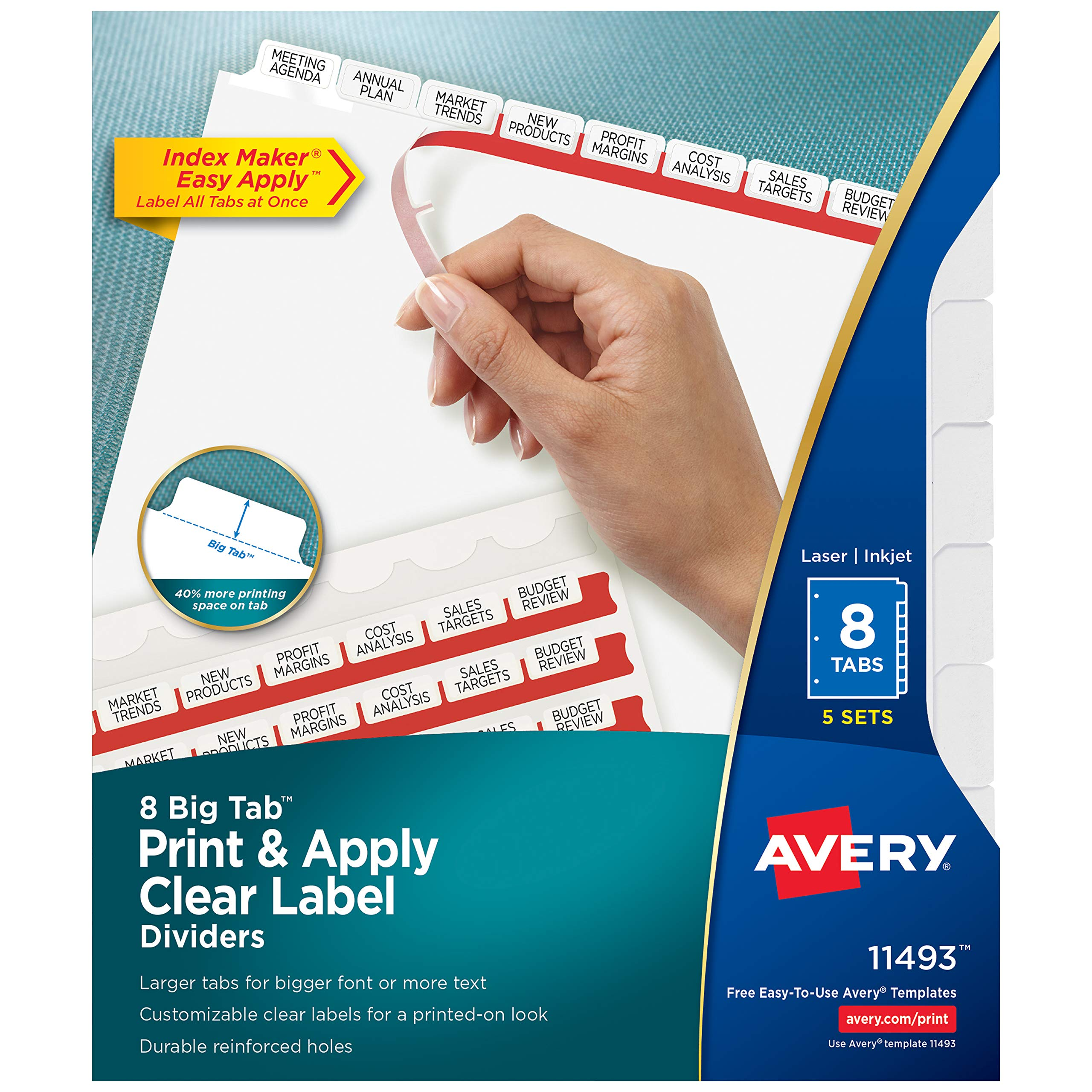 Avery 8 Big Tab Binder Dividers, Easy Print & Apply Clear Label Strip, Index Maker, White Tabs, 5 Sets (11493) by AVERY