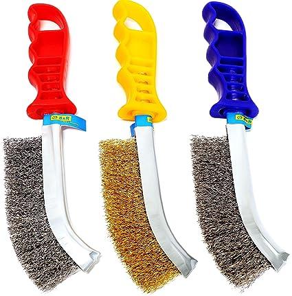 S&R Juego de cepillos metálicos de 3 piezas: 1 Cepillo de Acero Inox, 1