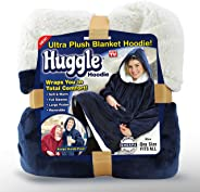 Ontel Huggle Hoodie | Hooded Robe, Spa, Bathrobe, Sweatshirt, Fleece, Pullover, Blanket, Mens, Womens | As Seen on TV (Blue)