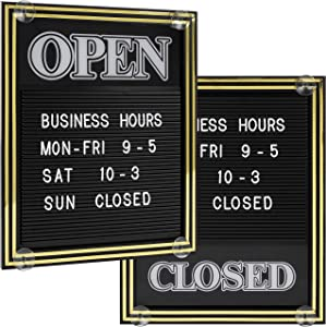 Open and Closed Sign with Letter Board for Customizable Message or Store Business Hours, Includes 447 Characters and Suction Cups for Hanging - 15 1/4 x 12 1/2 inches