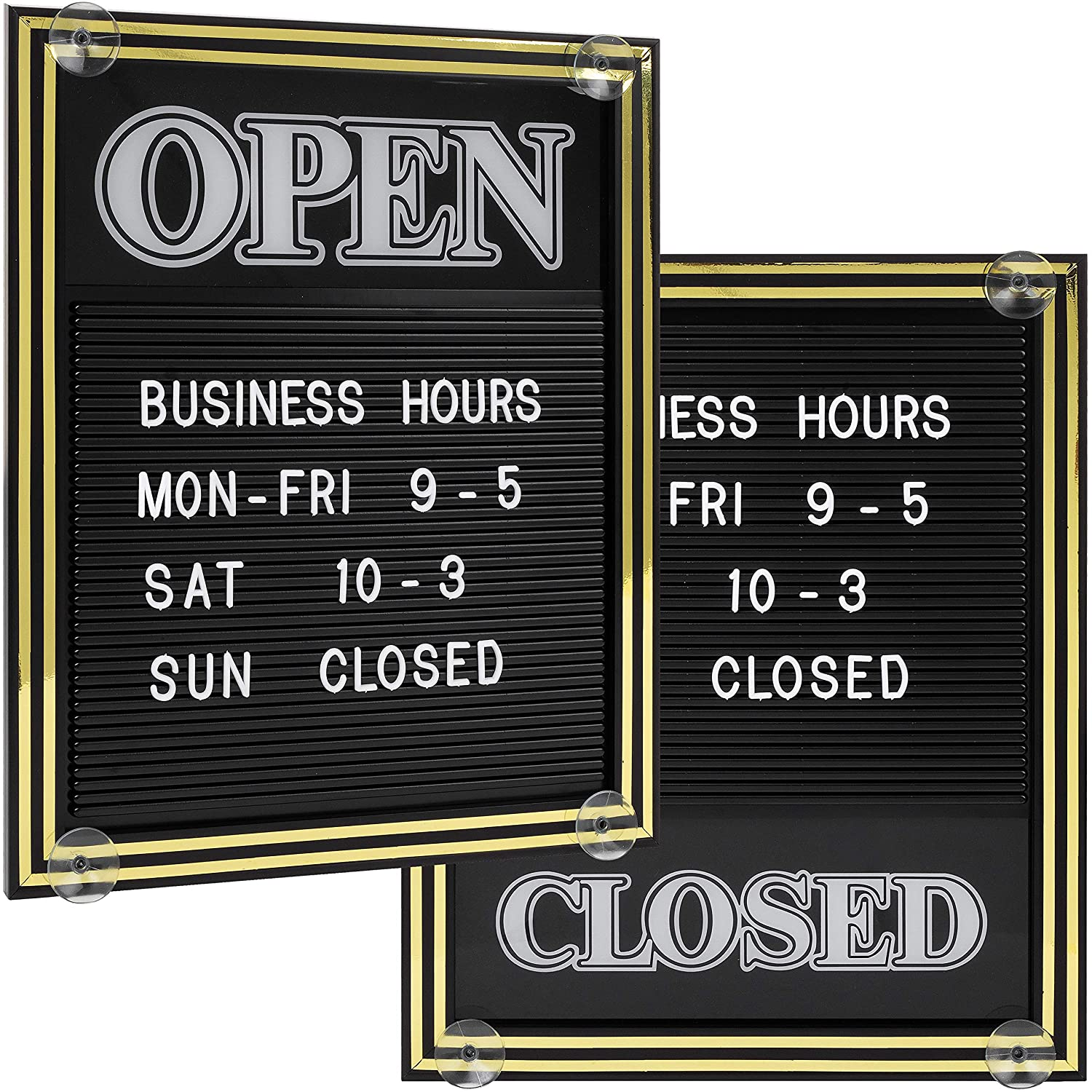 Open and Closed Sign with Letter Board for Customizable Message or Store Business Hours Includes 298 Characters and Suction Cups for Hanging 15 1//4 x 12 1//2 inches