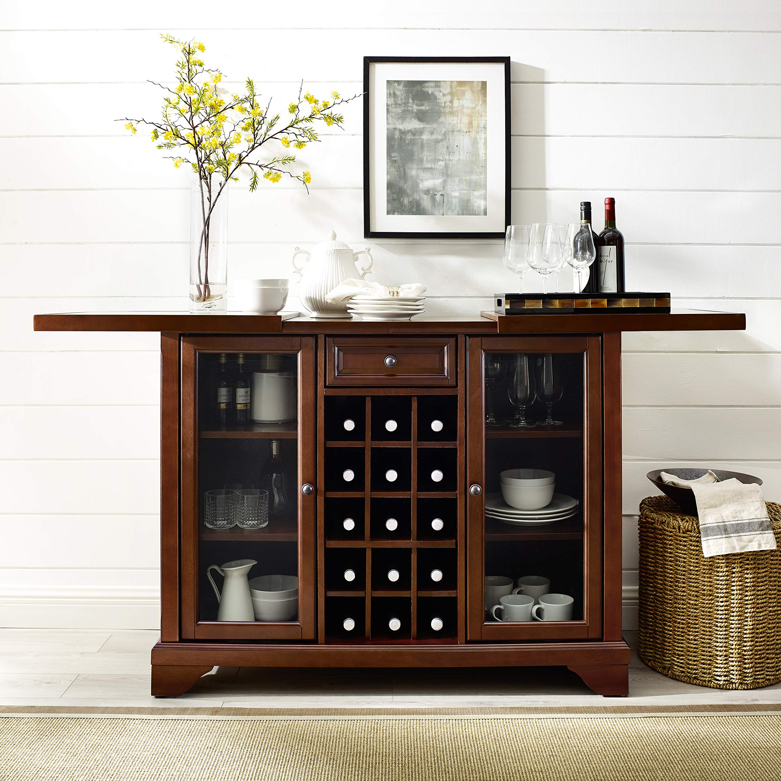 Crosley Furniture Lafayette Sliding Top Bar Cabinet - Vintage Mahogany by Crosley Furniture